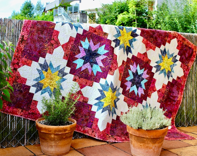 Quilt pattern - Fireworks for Joanna - throw size: 54 in. x 78 in. - PDF download