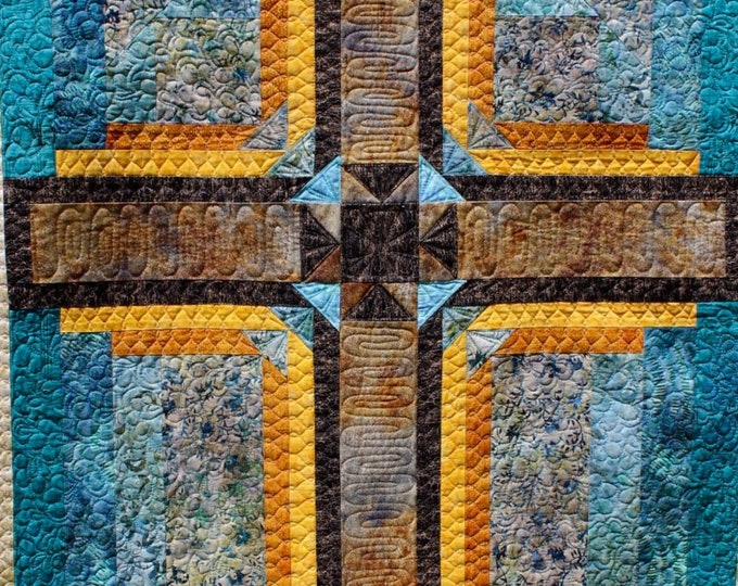 Cross Quilt - Cross in Stone and Gold - 3 sizes - PDF pattern
