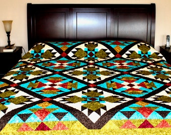 "Southwest Quilt Pattern -  Bear Paw / Indian / Native American quilt - King Size: 105"" x 105"""