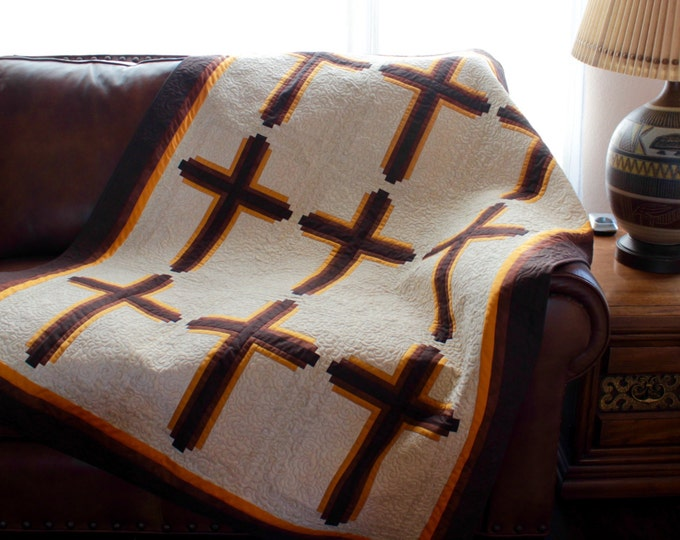 Quilt Pattern - Log Cabin Crosses - Throw: 48in. x 63in.