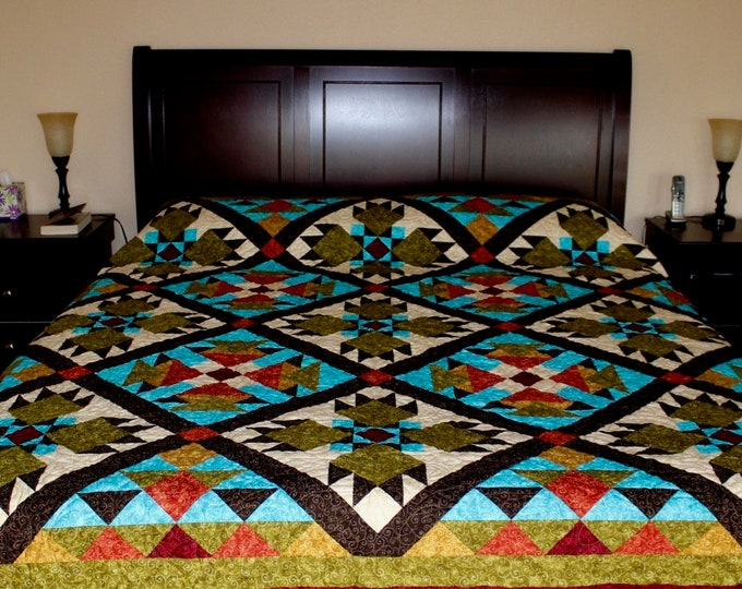 "Southwest Quilt Pattern -  Bear Paw / Indian / Native American quilt - King Size 105"" x 105"" - PRINTED"