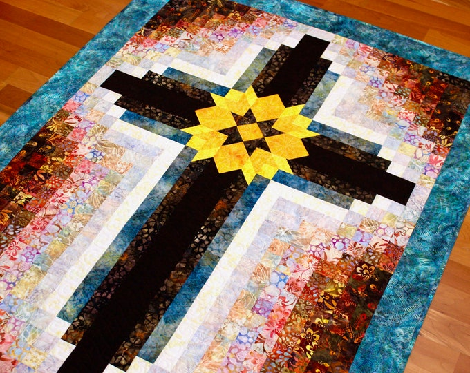 """Cross quilt pattern - Painted Cross: wall hanging 42 in. x 55 1/2"""" in. - PRINTED"""