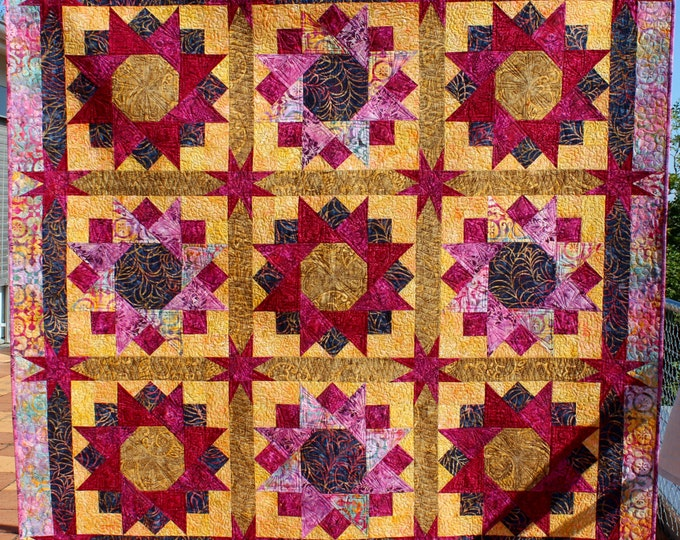 "Quilt Pattern - Spinning Stars in Gold and Maroon - finished size: 66"" x 66"""