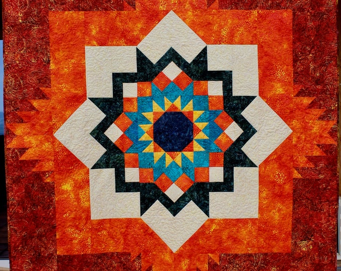 Southwest quilt pattern - Santa Fe Sunburst - throw size: 58 x 76 - PRINTED