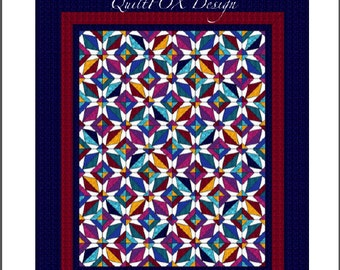 Paper pieced Jewel Quilt Pattern - The Queen's Jewels - Paper pieced Quilt - Queen size