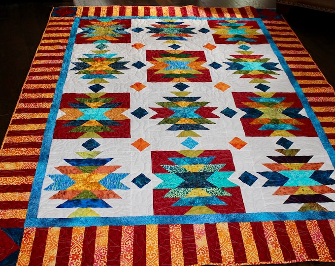 "Southwest Quilt Pattern , Native American , American Indian , size : 76"" x 96""  , PRINTED pattern"