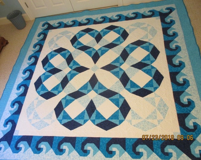 Quilt Pattern / Storm at Sea variation / Heartwaves in Aqua - King Size: 100 x 100 - PRINTED