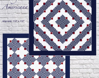 Vintage Americana Quilt Pattern - King - Queen/Full - Twin sizes - PDF pattern
