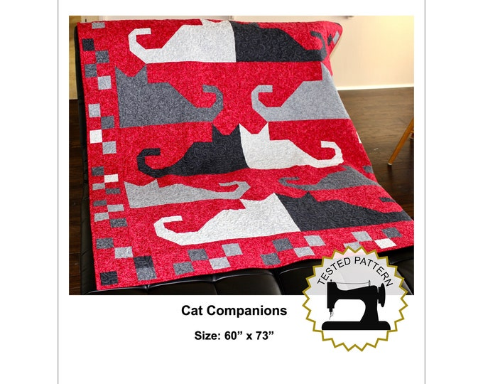"""Cat Quilt Pattern - Cat Companions - Lap or Throw size: 60"""" x 73""""- PRINTED"""