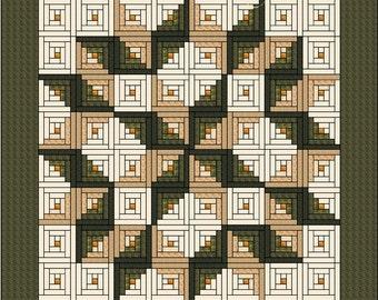 "Log Cabin Quilt Pattern - Log Cabin Carpenter Star - King Size: 105"" x 105"" , PDF"