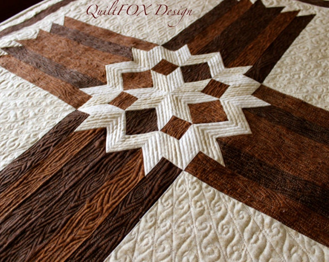 "Cross Quilt Pattern - Carpenters Star Christian Cross - 42"" x 57"" - PRINTED Pattern"