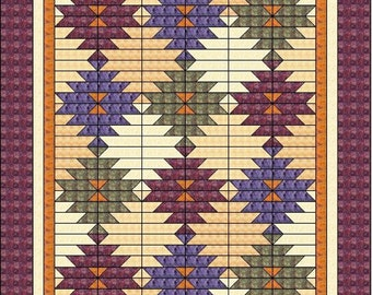 "Squash Blossom - Quilt Pattern - 68""x84"""