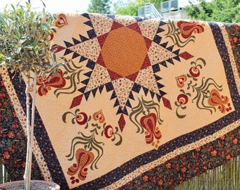 "Feathered Star with tulip appliqué - PDF quilt pattern - size 62"" x 62"""