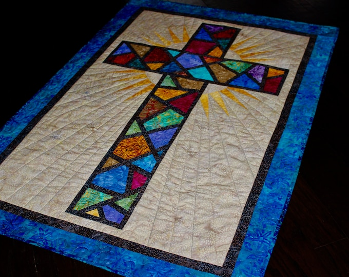 "Stained Glass Cross / Christian Cross / Cross Quilt Pattern - size: 36"" x 51"" , PDF Download"