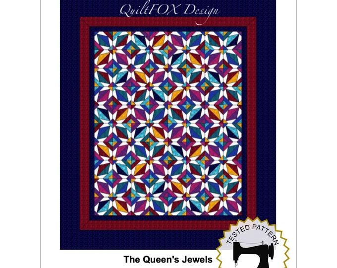 Paper pieced Jewel Quilt Pattern - The Queen's Jewels - Paper pieced Quilt - Queen size (88 x 103) - PDF pattern