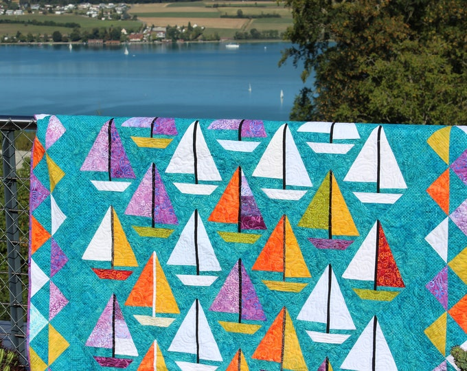 "Quilt Pattern / Scrap happy Sailboats - 65"" x 85"" - PRINTED"