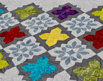 Gems and Crystals - Quilt pattern - 56 in. x 90 in. - PDF Pattern