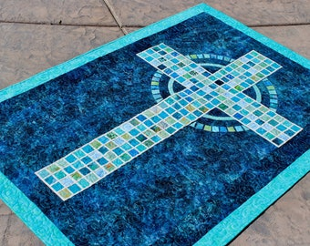 "Mosaic Cross  - PRINTED Pattern - Quilt Pattern - size: 41"" x 59"""