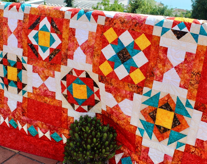 Indian Jewel Box - Quilt Pattern - Native - Full and Queen sizes - Printed pattern