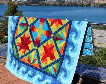 "Quilt Pattern - Mediterranean - Tropical Island - Beach House Quilt - size: 74""x74"" - PRINTED"