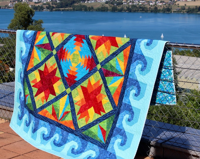 "Quilt Pattern - Mediterranean - Tropical Island - Beach House Quilt - size: 74""x74"""