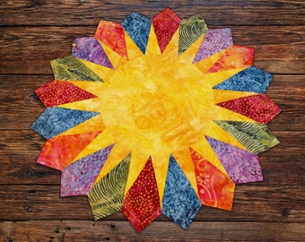 Sunshine placemats and quilt - 17 1/2 in. diameter - 57 in. x 76 in, quilt - PDF pattern