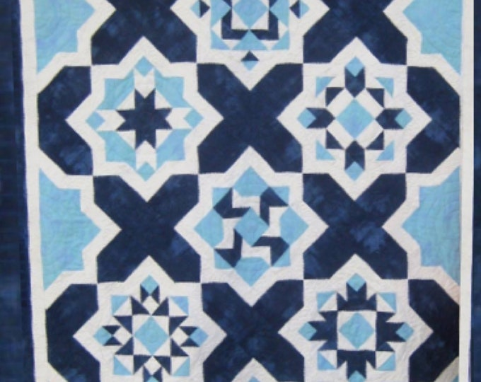 Quilt Pattern - Blue Tiles - size: 59 inches x 81 inches - PDF download