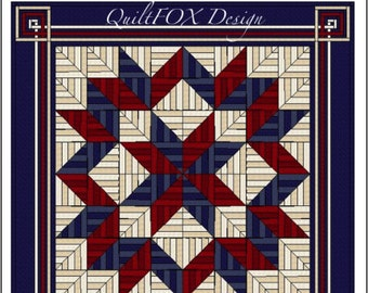 """Carpenters Star Quilt Pattern - String quilt pattern - King Size: 108"""" x 108"""""""