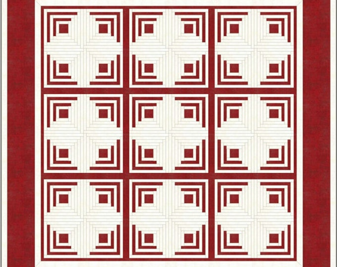 Log Cabin Quilt / Antique quilt / red and white quilt - king size: 110 x 110