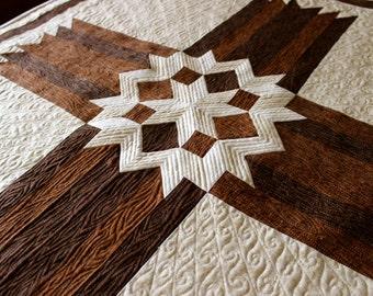 "Cross Quilt Pattern - Carpenters Star Cross - Twin size: 68"" x 90"""