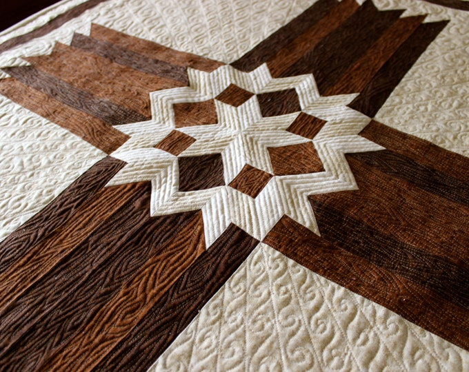 "Cross Quilt Pattern - Carpenters Star Cross - Twin size: 68"" x 90"""