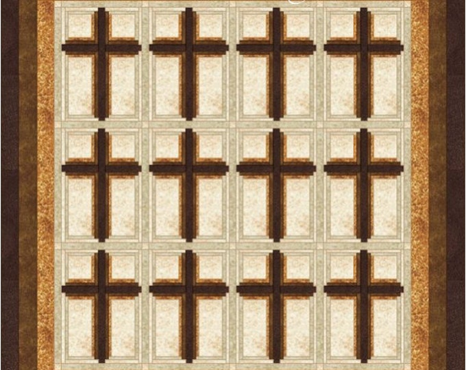 Cross Quilt Pattern - Log Cabin Crosses - Religious quilt - King size: 104 in. x 107 in.