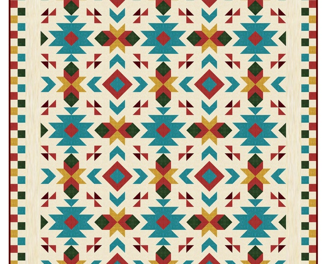 """Southwest Quilt Pattern - Southwest quilt - Nativ American quilt - Full size: 80"""" x 96"""" , PRINTED"""