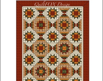 "Quilt Pattern - Maple Stars with Courthouse steps - throw: 56""x78"""