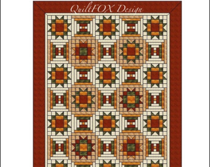 """Quilt Pattern - Maple Stars with Courthouse steps - throw: 56""""x78"""""""