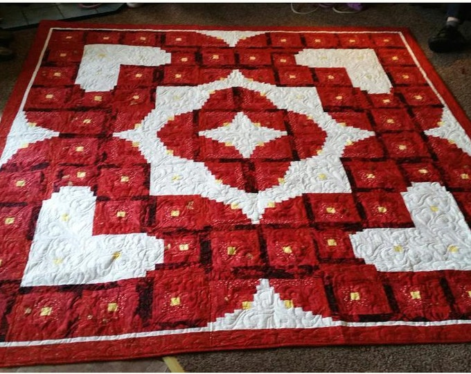 "Wedding Quilt Pattern - Valentine / Love / Heart / Log Cabin Quilt - King Size 108"" x 108"""