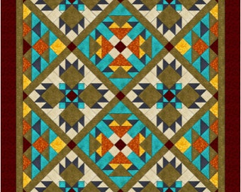 "Southwest Quilt Pattern - Bear Paw quilt - Twin/Full Size: 69"" x 96"" , PDF Download"