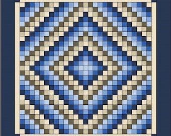 """Trip around the World - Quilt pattern - King size: 105"""" x 105"""""""