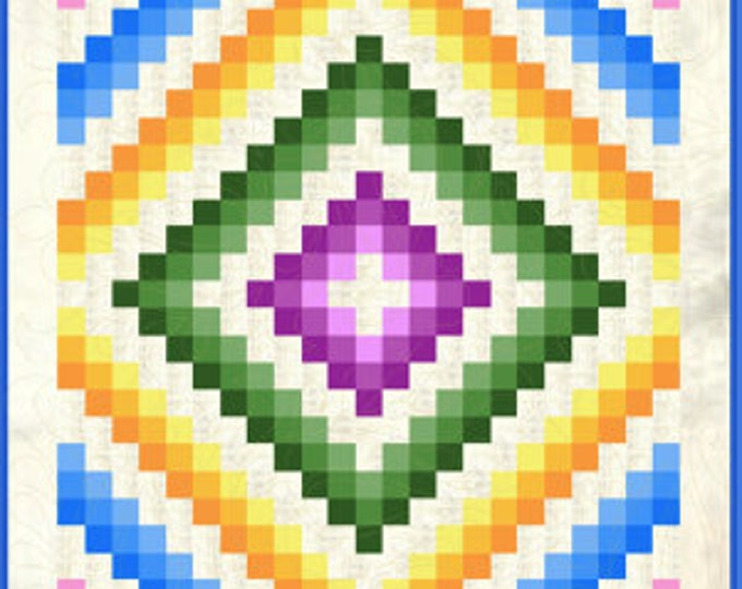 Quilt pattern - Trip Around the Caribbean - size 68 in. x 88 in. - PDF download
