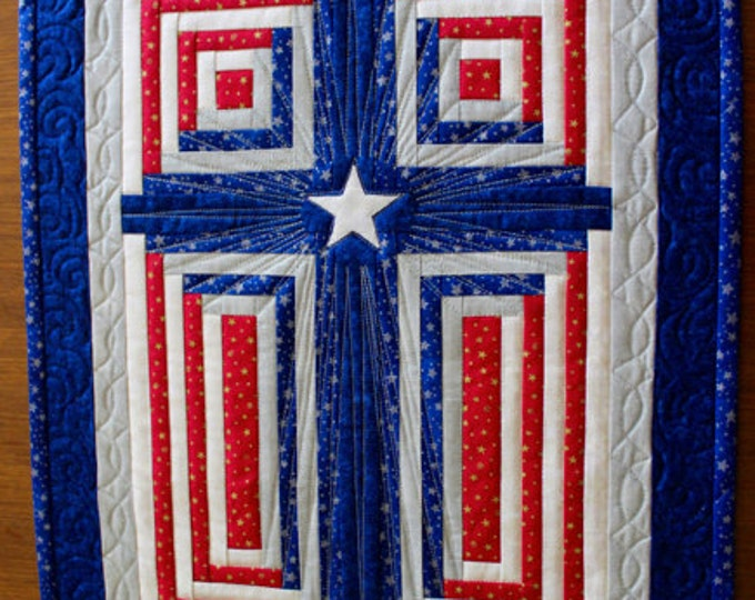 "Log Cabin Cross , Cross quilt , Patriotic cross , God Bless America , Paper Pieced cross , 17""x22"" , PRINTED"