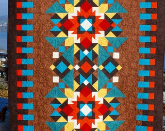 """Southwest Quilt Pattern - Indian Summer - Finished size: 56"""" x 84"""""""