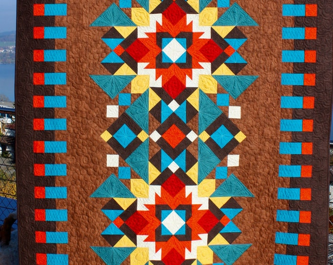 "Southwest Quilt Pattern - Indian Summer - Finished size: 56"" x 84"""