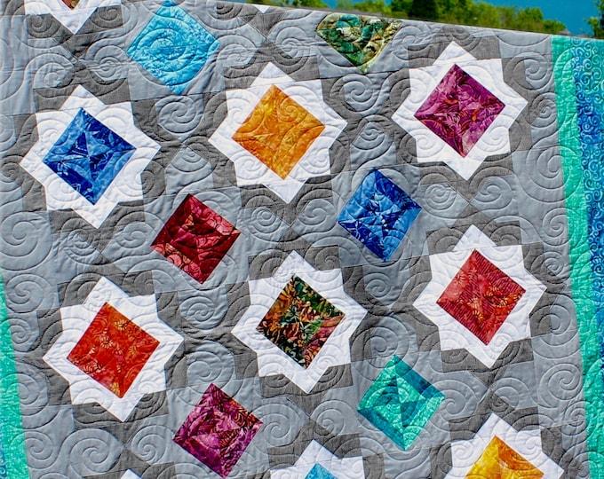 Quilt pattern - Birthstones - size: 60 in. x 92 in. - PDF download