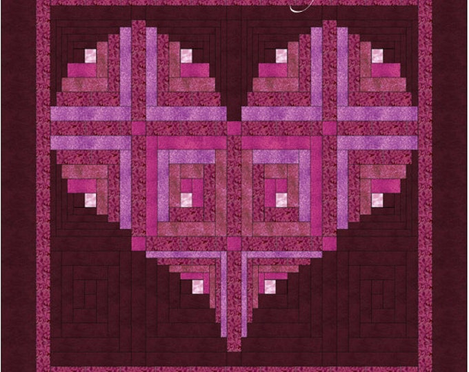 "Log Cabin Heart Quilt Pattern - Valentine / Love  Wall Hanging: 40"" x 40"""