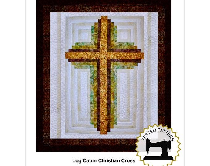 Log Cabin Cross - Christian Cross - Queen size: 90 in. x 104 in. , PDF Download