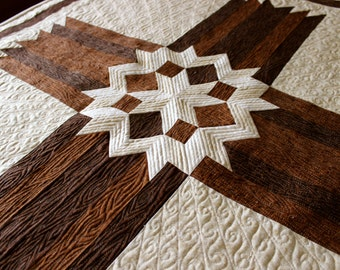 Cross Quilt - Carpenters' Star Cross - Queen / King size , PRINTED