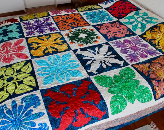 "Hawaiian Sampler , Hawaii applique , king size 112"" x 112"" , PDF pattern"