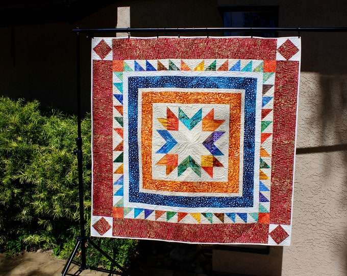 Scrap Happy Ohio Star - Lap quilt (52 in. x 52 in.) and Placemats