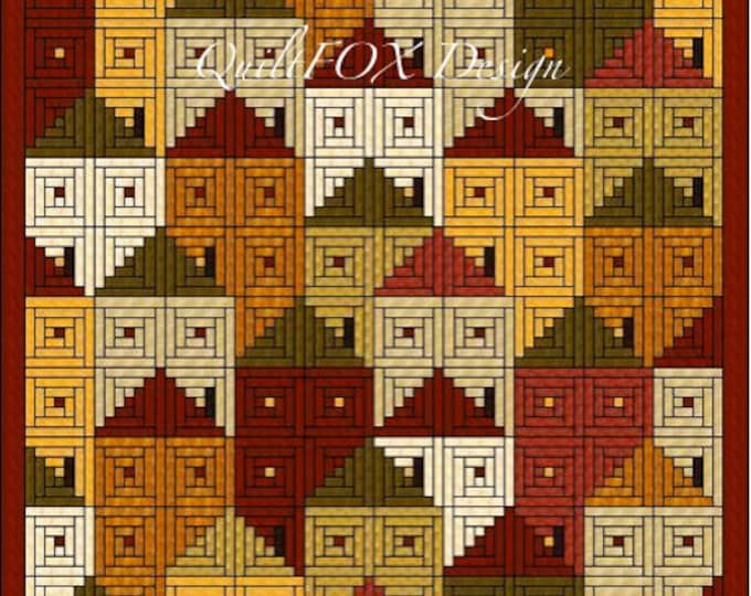 "Log Cabin Houses Quilt Pattern - Twin size: 75"" x 89"""
