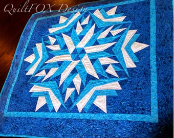 Snowflake Quilt Pattern - Baby quilt / Crib quilt / baby quilt - wall hanging and crib size